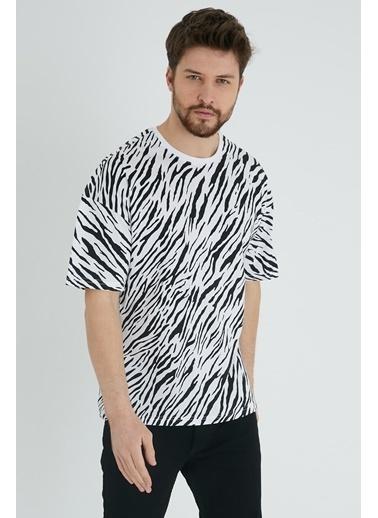 XHAN Beyaz & Siyah Zebra Desen Salaş T-Shirt 1Kxe1-44641-79 Beyaz